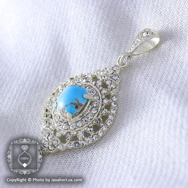 گردنبند فیروزه نیشابوری زنانه مدل دیان _ کد : ۱۰۰۰۰۸