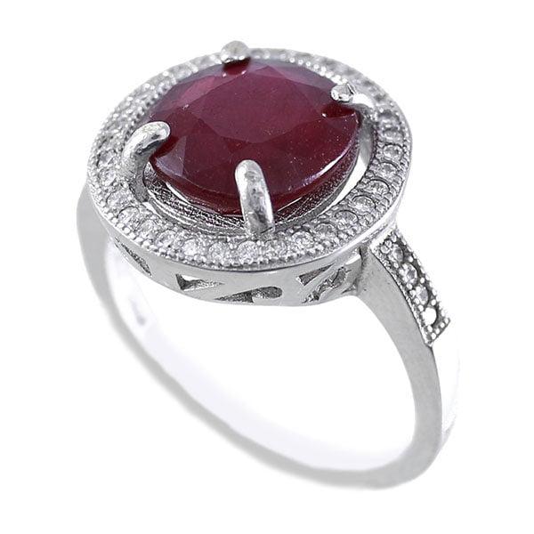 انگشتر نقره یاقوت سرخ زنانه مدل هیلدا _ کد : ۱۰۰۰۱۳