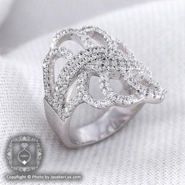 انگشتر نقره سولیتر زنانه روکش رادیوم مدل فرنو _ کد : ۱۰۰۰۲۲