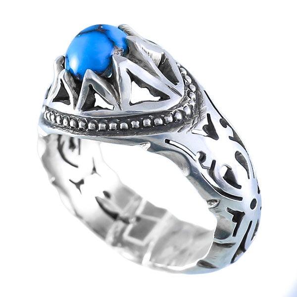 انگشتر نقره مردانه فیروزه مدل آرمیا _ کد : 100036