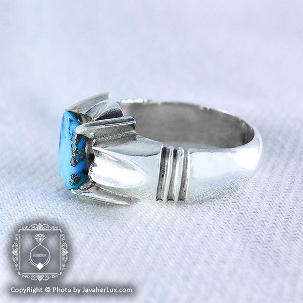 انگشتر نقره مردانه فیروزه نیشابوری مدل رایا _ کد : 100038