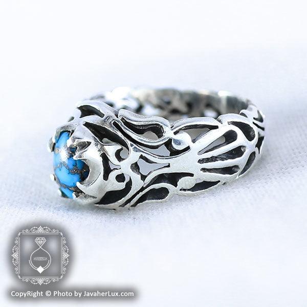 انگشتر نقره مردانه فیروزه نیشابوری مدل فرگون _ کد : 100044
