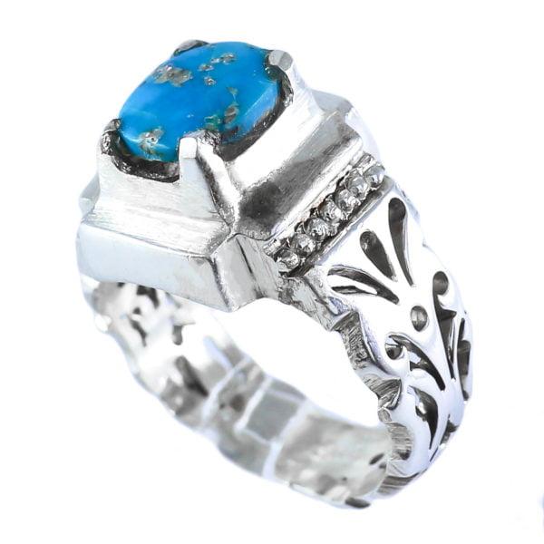 انگشتر نقره مردانه فیروزه نیشابوری مدل آتری _ کد : 100045