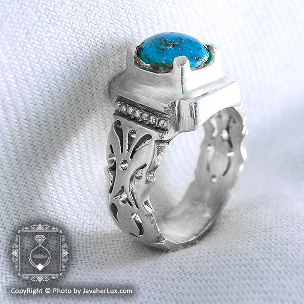 انگشتر نقره مردانه فیروزه نیشابوری مدل انوشا _ کد : 100046