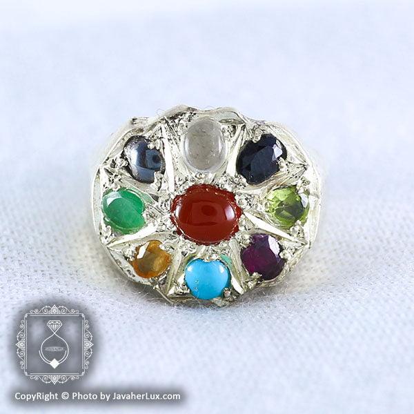 انگشتر نقره مردانه چند جواهر مدل باوند _ کد : 100047