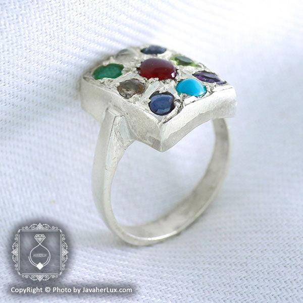 انگشتر نقره مردانه چند جواهر مدل تیگران _ کد : 100050