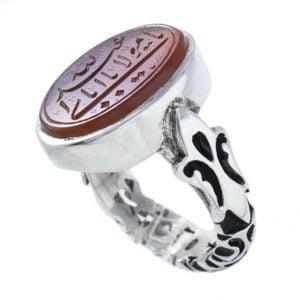 انگشتر نقره مردانه عقیق یمنی خطی مدل ثامر _ کد : 100051