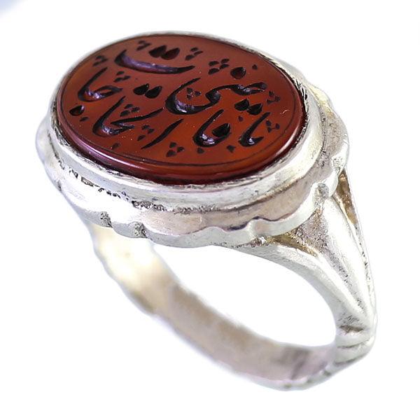 انگشتر نقره مردانه عقیق قرمز خطی یا قاضی الحاجات _ کد : 100060