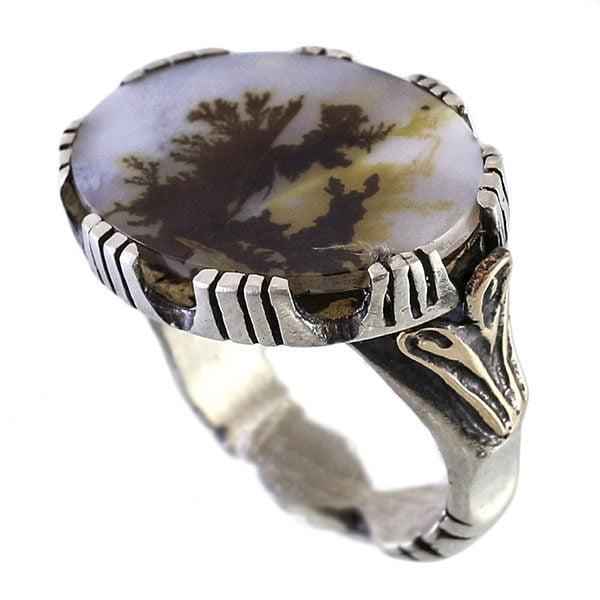 انگشتر نقره مردانه عقیق شجری مدل مهرک _ کد : 100077