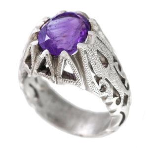 انگشتر نقره مردانه آمتیست مدل آموتیا _ کد : 100080