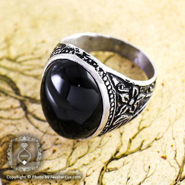 انگشتر نقره مردانه عقیق سیاه مدل ریوشاد _ کد : 100085