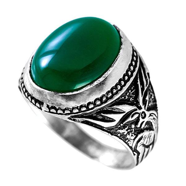 انگشتر نقره مردانه عقیق سبز مدل فرامین _ کد : 100086