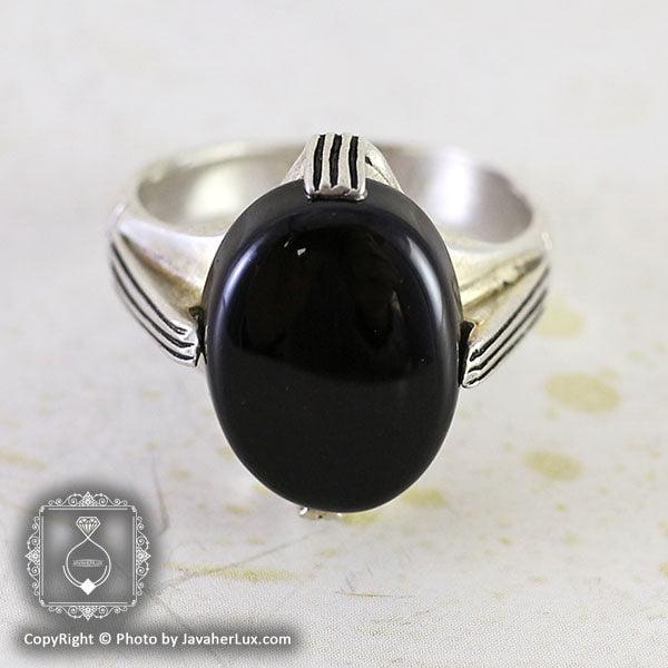 انگشتر نقره مردانه عقیق سیاه مدل هومان _ کد : 100087