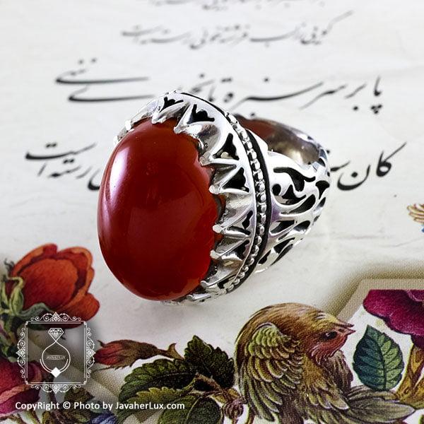 انگشتر نقره مردانه عقیق یمنی مدل سارین _ کد : 100096