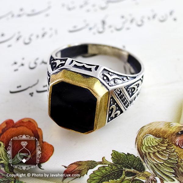 انگشتر نقره مردانه عقیق سیاه مدل پژند _ کد : 100111