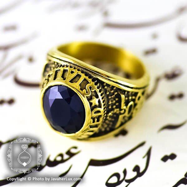 انگشتر مردانه طرح عقیق سیاه مدل کهار _ کد : 200096