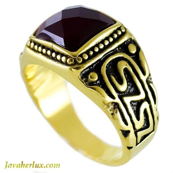 انگشتر مردانه طرح عقیق سیاه مدل داو _ کد : 200098