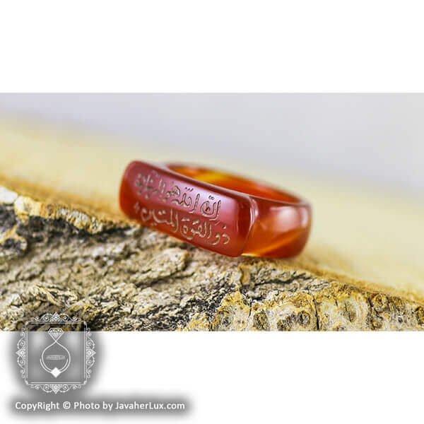 حلقه عقیق قرمز حکاکی مذهبی _ کد : 400042