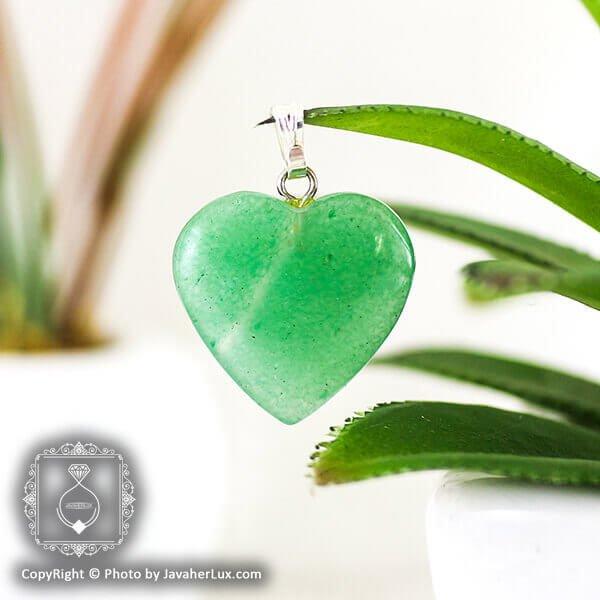 آویز آونتورین سبز تراش قلب _ کد : 400055