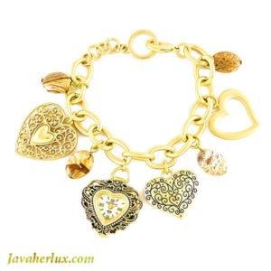 ساعت زنانه دستبندی طرح قلب طلایی _ کد : ۶۰۰۰۳۶