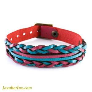 دستبند چرم مردانه بافت مدل مینل