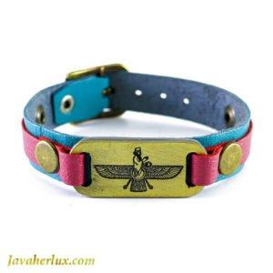 دستبند چرم مردانه مدل اهورا مزدا _ کد : 200129