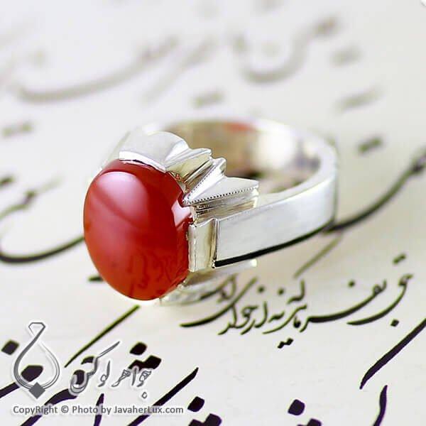 انگشتر نقره مردانه عقیق یمنی مدل نیاگ _ کد : 100113
