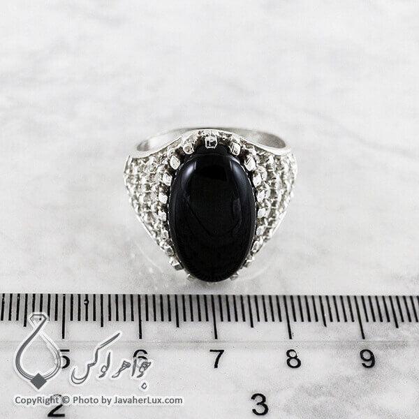 انگشتر نقره مردانه عقیق سیاه مدل کایر _ کد : 100147