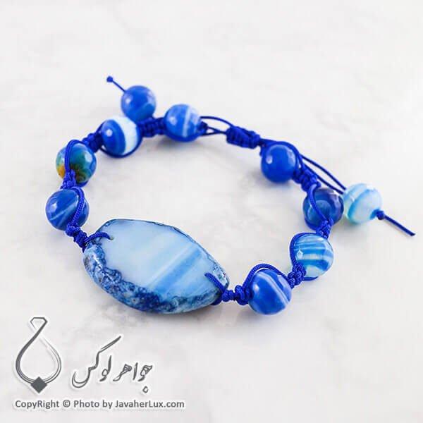 دستبند بافت عقیق سلیمانی آبی _ کد : 400061