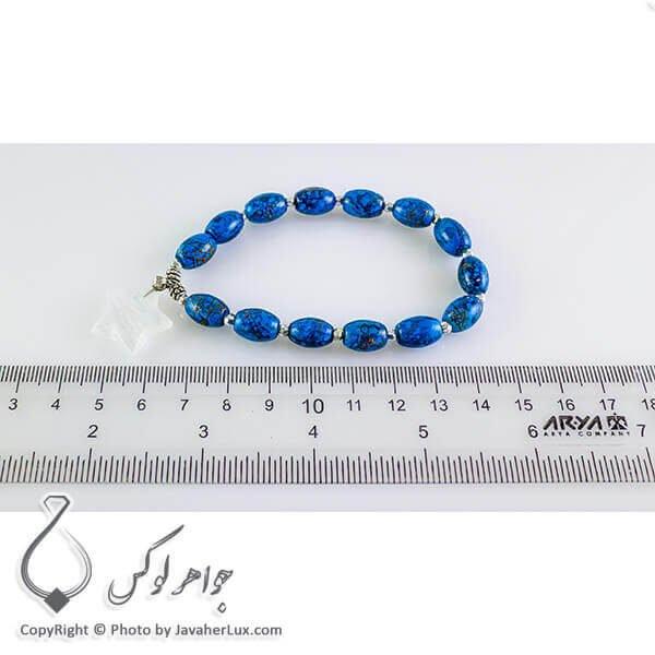 دستبند طرح فیروزه با آویز سنگ کریستال کوارتز _ کد : 200222