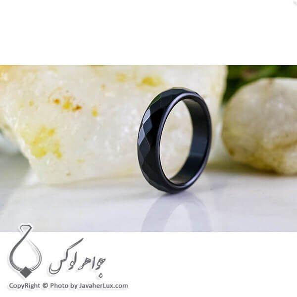 حلقه سنگی عقیق سیاه تراش دار _ کد : 400069