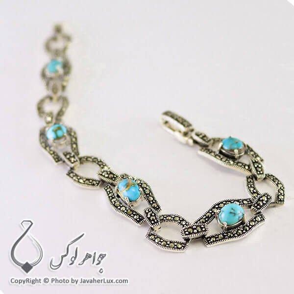 دستبند نقره زنانه فیروزه نیشابوری _ کد : 100207