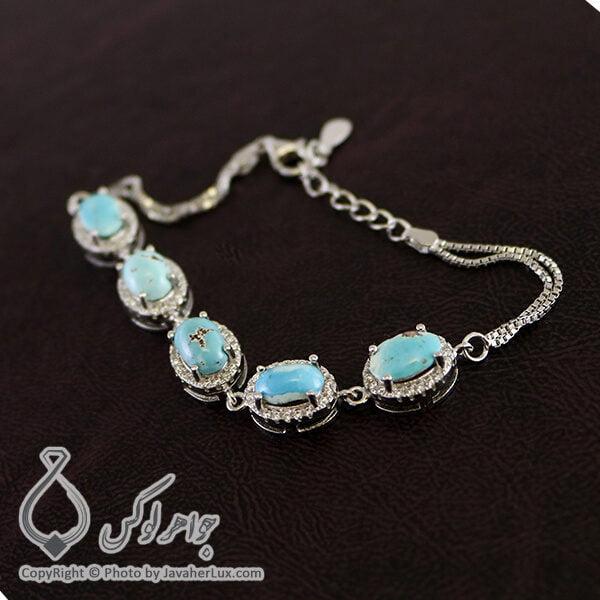 دستبند نقره زنانه فیروزه نیشابوری مدل ژوان _ کد : 100210