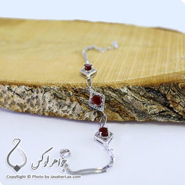 دستبند نقره زنانه یاقوت سرخ _ کد : 100212