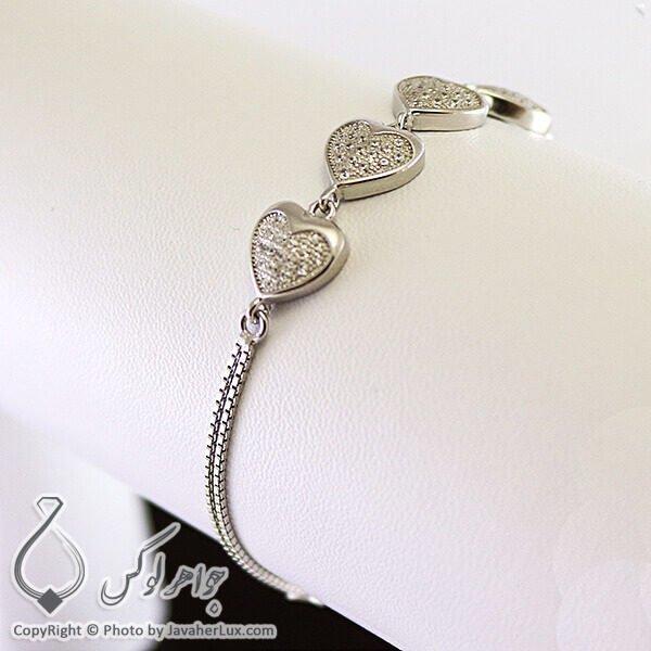 دستبند نقره زنانه طرح قلب _ کد : 100214