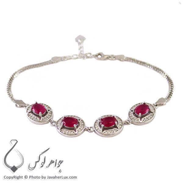 دستبند نقره زنانه یاقوت سرخ مدل آوادان _ کد : 100215