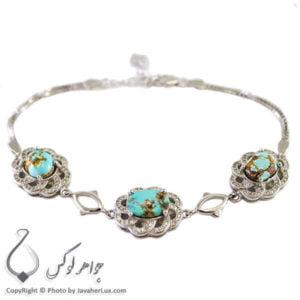 دستبند نقره زنانه فیروزه نیشابوری مدل آیتن _ کد : 100218