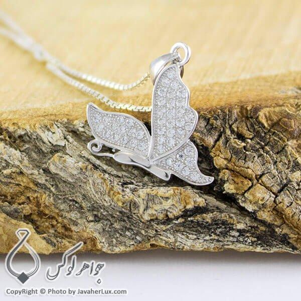 گردنبند نقره میکروستینگ زنانه مدل پروانه _ کد : 100228