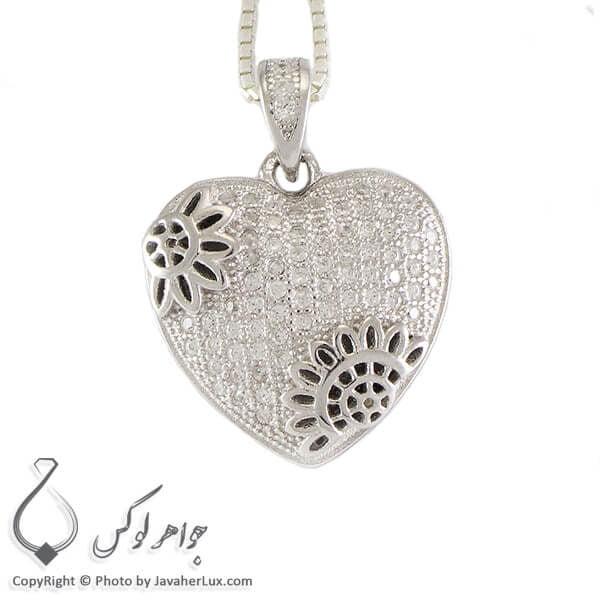 گردنبند نقره میکروستینگ زنانه مدل قلب _ کد : 100237