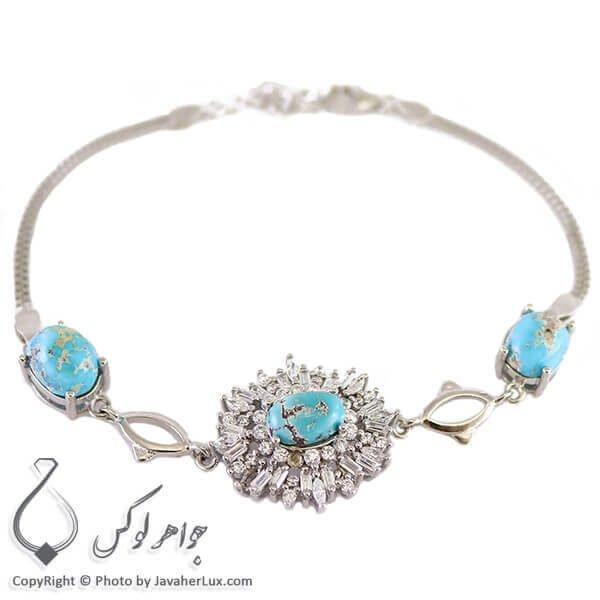 دستبند نقره زنانه فیروزه نیشابوری مدل لفو _ کد : 100244