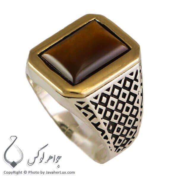 انگشتر نقره مردانه عقیق قهوه ای _ کد : 100284