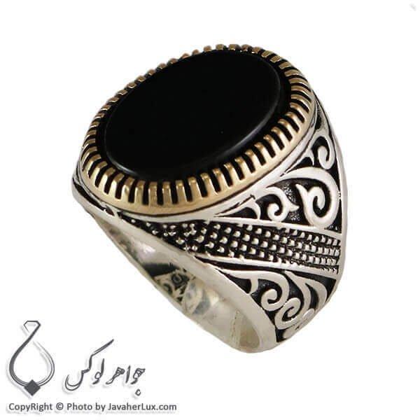 انگشتر نقره مردانه عقیق سیاه مدل تئو _ کد : 100295