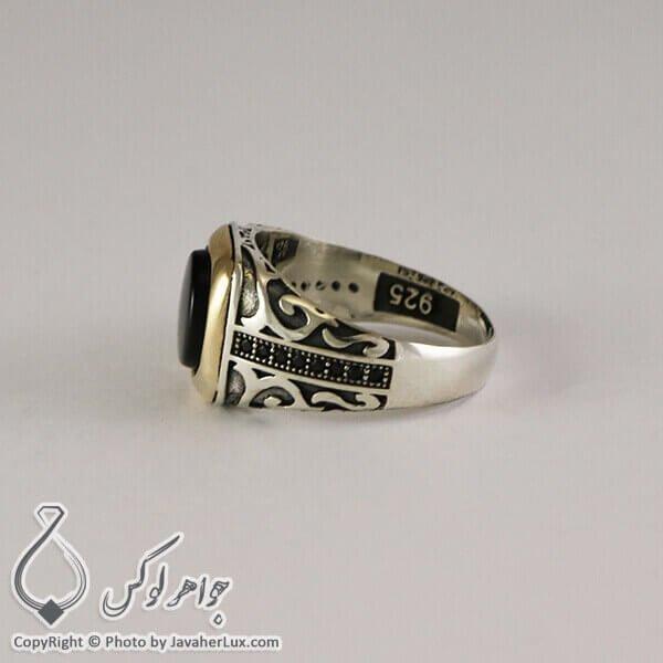 انگشتر نقره مردانه عقیق سیاه مدل لوکان _ کد : 100297
