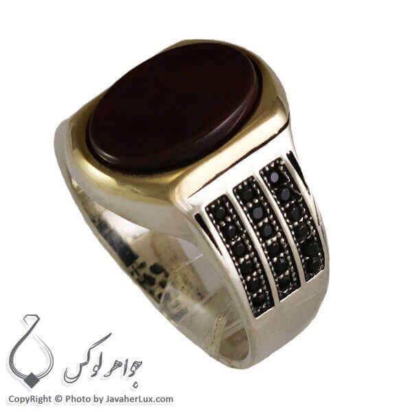 انگشتر نقره مردانه عقیق سیاه مدل دانی _ کد : 100299