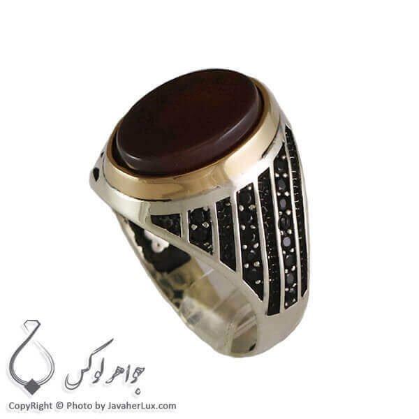 انگشتر نقره مردانه عقیق سیاه آواژ _ کد : 100303