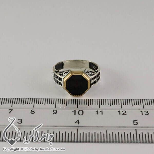 انگشتر نقره مردانه عقیق سیاه مدل الیار _ کد : 100305