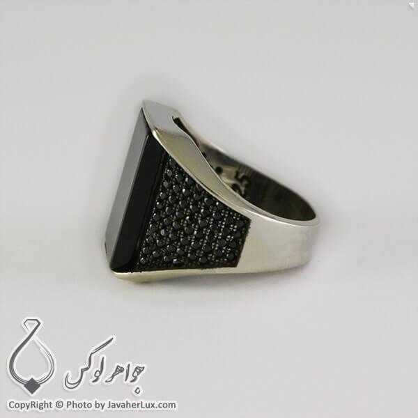 انگشتر نقره مردانه عقیق سیاه مدل ارو _ کد : 100308