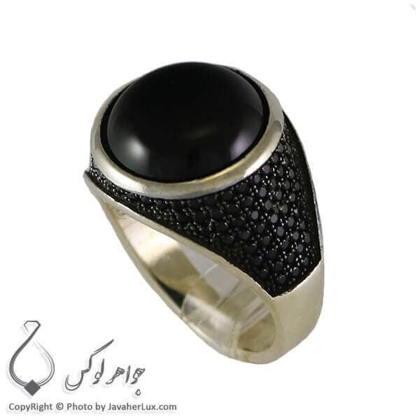 انگشتر نقره مردانه عقیق سیاه مدل کراب _ کد : 100315
