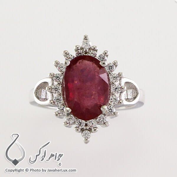 انگشتر نقره زنانه یاقوت سرخ مدل ماسیس _ کد : 100317