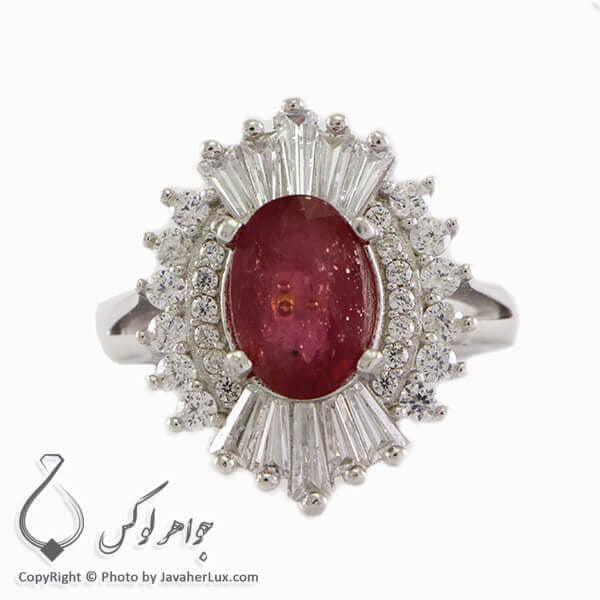 انگشتر نقره زنانه یاقوت سرخ مدل سریر _ کد : 100326